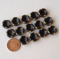 14 Vintage Black Handpainted Poppy Buttons by GrannieBunting, £6.00