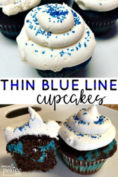 365a8b10cc4 These are the easiest thin blue line cupcakes to make for law enforcement  appreciation days or