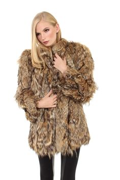 Shaggy vintage Coyote fur Coat. Fall-Winter 2012 Fashion Trend. Only At CVC Vault!