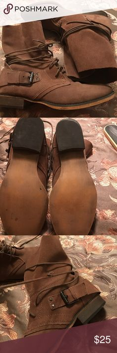 Tan suede moto boots Carlos Santana Women's moto boots with side buckle detail in good condition but shoe string on one boot is broken as noted in third pic but once it's laced )pic 4 ) it's really not noticeable no stains on suede at all Carlos Santana Shoes Combat & Moto Boots