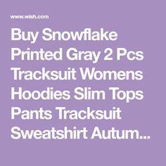 Buy Snowflake Printed Gray 2 Pcs Tracksuit Womens Hoodies Slim Tops Pants Tracksuit Sweatshirt Autumn Winter Lomg Sleeve Suit Christmas Set at Wish - Shopping Made Fun