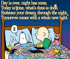 Good night my snoopy inspiration positive words