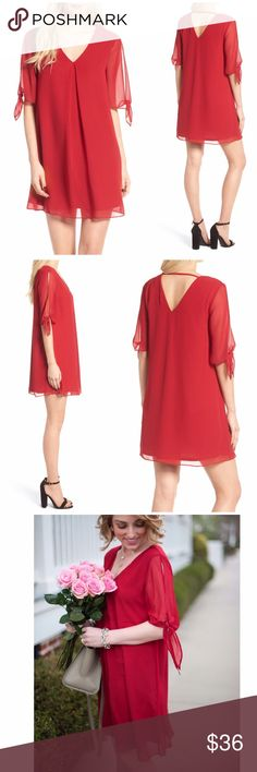 """NWT Soprano Jules Chiffon Split Sleeve Shift Dress Soprano Jules Split Sleeve Shift Dress Split and knotted sleeves create a charming draped effect in this breezy shift dress that's wonderfully comfortable and cute. Color is called red wine  34"""" length V-neck Elbow-length split sleeves Lined 100% polyester Made in the USA Soprano Dresses"""