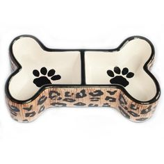 Wild Leopard Double Dog Bowl