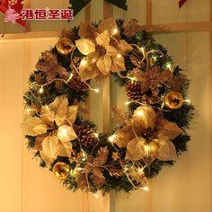 Flor do natal grinalda do natal (para não incluir a luz) 50 cm de diâmetro enfeite de natal decorações De Natal para casa(China (Mainland))