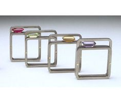 Rings by Angela Fung in stainless steel, gold and semi-precious stones