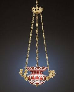 Beautiful chandelier of Bohemian overlaid ruby and white glass hand painted with floral sprays and gilt accents with doré bronze crown and 6 candle holders, c. Chandelier For Sale, Art Deco Chandelier, Antique Chandelier, Art Deco Lighting, Chandeliers, Antique Lighting, Glass Chandelier, Chandelier Lighting, Art Nouveau