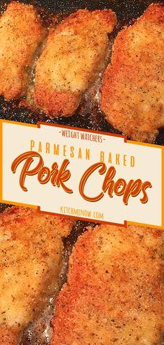 Parmesan Baked Pork Chops – Famous Last Words Parmesan Pork Chops, Breaded Pork Chops, Boneless Pork Chops, Baked Pork, Pork Chop Recipes, Ww Recipes, Free Recipes, Pork Chop Dinner, Chops Recipe