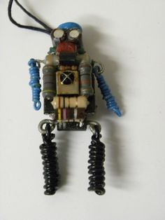 Robot necklace recycled computer parts geek techie cobblebot FREE SHIP black leg