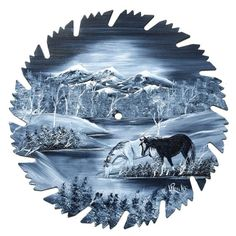 Hand Painted Saw Blade Mountain Gray by LindasMountainCrafts