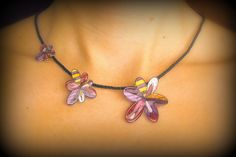 Flowers necklace, enamel flower jewerly, spring acrilyc necklace. €20.00, via Etsy.