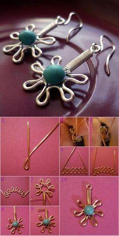 DIY Wire Flower Earring DIY Projects | UsefulDIY.com Follow Us on Facebook ==> http://www.facebook.com/UsefulDiy