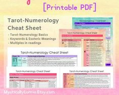 Free Tarot Cards, Tarot Card Meanings, Tarot Reading, Tarot Decks, Cheat Sheets, Learn To Read, Numerology, Witchcraft, Cheating