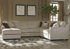 Hazes Fleece Left Facing Corner Chaise Sectional w/ Right Facing Loveseat