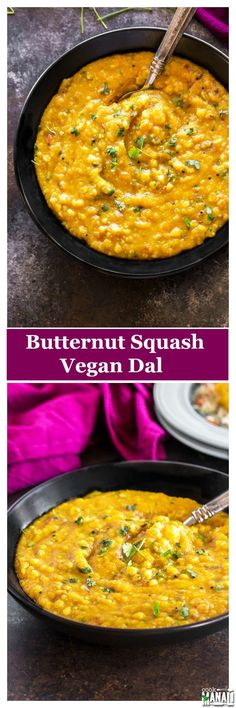 Vegan & gluten-free Butternut Squash Dal. Lentils cooked with onion, tomatoes, butternut squash and lightly tempered with cumin and mustard seeds. Find the recipe on www.cookwithmanali.com