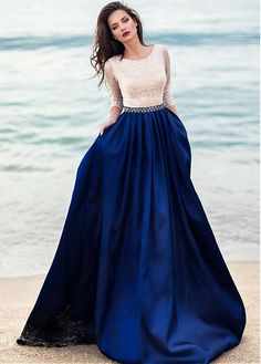 wedding dresses lace, Glamorous Satin & Sequin Lace Scoop Neckline Length Sleeves A-line Evening Dress With Beadings DressilyMe UK Royal Blue Prom Dresses, Prom Dresses With Sleeves, Modest Dresses, Cute Dresses, Beautiful Dresses, Bridesmaid Dresses, Formal Dresses, Wedding Dresses, Dress Outfits