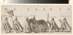 Hendrick Goltzius   Begrafenisstoet van Willem van Oranje, blad 8, Hendrick Goltzius, 1584   Lijkstatie met de heren Duytz, Wolfart van Brederode, Brecht, de Maldree, de graaf van Oversteyn en de Baron de Creainge. Zij dragen bij zich twee zwaarden, de wapenrok, het paard en de kroon van de prins. Blad 8 in de begrafenisstoet van Willem van Oranje, Delft 3 augustus 1584.