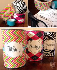 Tithing, Savings, Spending Jars... 10% goes into tithing & saving jars the rest in spending jars... Free printable labels... great way to teach kids how to properly handle their money!