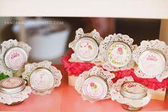 mini mason jars with doily lids