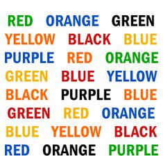 Optical Illusions and Brain Benders   Try to say the color of each word, not the word itself. For instance, the first word would be green.   It's challenging right? While you're using the right side of your brain to say the color, the left side of your brain tries to make you say the word.