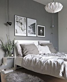 Grey is the second most popular shade for the winter and a very stylish choice for your bedroom this season. Paired with other neutrals or other shades of grey it can create the perfect relaxing space to spend your free days at home. 1. Wonder moments Make magic in your grey bedroom using floating light bulbs and some dreamy plants.