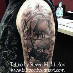 Realistic Pirate Ship black and grey boat tattoo by Steven Middleton, Tattoo City, Lockport, IL. www.tattoocityskinart.com