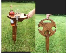 Items similar to Outdoor Wine Table, Picnic Table, Wine Glass and Bottle Holder, Wine Table on Etsy Barrel Projects, Diy Wood Projects, Outdoor Picnic Tables, Wine Caddy, Wine Painting, Wine Display, Wine Table, Wine Design, Wine Glass