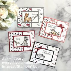 Dog And Cat Images, Hand Stamped Cards, Dog Cards, Stampin Up Catalog, Cute Cats And Dogs, Scrapbooking, Stamping Up Cards, Animal Cards, Pattern Paper