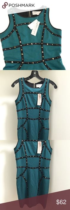 NWT Philosophy Republic Clothing Studded Dress Brand New Philosophy Republic Clothing Deep Green Dress with Gold Studded Detailing! So cute and fun for Nights Out This Fall!  63% Polyester 27% Viscose 7% Cotton 3% Elastane. No Trades/ No Modeling/ Reasonable Offers Philosophy Dresses Mini