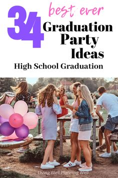 Looking for easy DIY graduation party ideas for your high school graduation party? Check out these 34 graduation party ideas for food and outdoor decorations for your girls or boys senior year. Outdoor Graduation Parties, Graduation Party Centerpieces, Graduation Party Foods, Graduation Party Planning, High School Graduation, Graduation Party Decor, Graduate School, Graduation Ideas, Grad Parties