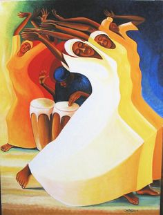 """Flow with the Rhythm, ©Bernard Stanley Hoyes (the Lamentations and Celebrations of Jamaican Revival Worship) -""""The intention is to show where we gather our strength in all the trials and tribulations we have to endure. The strength comes from the commonality of our spiritual seeking. That's one of the reasons I group the figures together and put them kind of like solid. They feel like one. You need all these bodies together to evoke the strength of what it takes to have a spiritual community."""""""