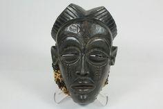 Hand Carved Wooden Congo Chokwe Mask Headdress Ebony With Kuba Cloth Back