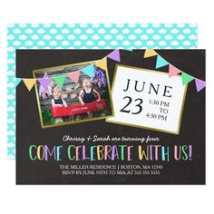 Chalkboard Bunting Banner Photo Birthday Party Card