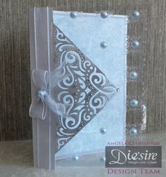 Angela Clerehugh – Create a Card - 5 x 7 Card – Die'sire Create A Card Chantilly – Centura Pearl – Acetate – Distress Ink (Iced Spruce) – Red Tape – Collall Tacky Glue – Sheena Douglass Embossing Folder – Paper from own stash – Gems – Ribbon – Pearl - Eyelets - #crafterscompanion
