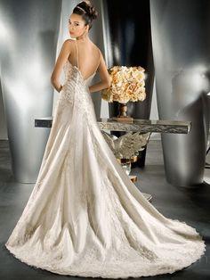 A-Line Spaghetti strap Long Organza Wedding Dress