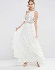 ASOS All Over Embellished Crop Top Maxi Dress
