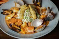 "C&M Seafood ""Gumbo"": Creole soup, shrimp, clams, crab, fish, cilantro lime rice, chorizo sausage and crispy fried okra"
