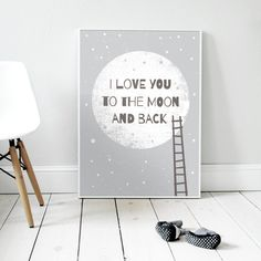 I love you to the moon and back GRAY | Plakat A3 von Milo Studio auf DaWanda.com
