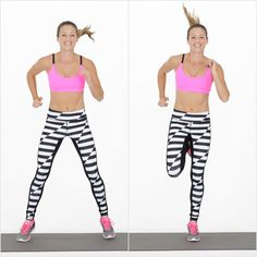 Bouncing off the balls of your feet, jump your feet wide. Hop back to center on your left foot, then jump y...