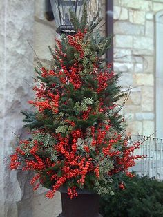 Plant Parenting – Winter outdoor planters, container gardening - Flower Garden İdeas İn Front Of House Outdoor Christmas Planters, Christmas Urns, Outside Christmas Decorations, Christmas Greenery, Christmas Arrangements, Christmas Holidays, Christmas Wreaths, Christmas Crafts, Holiday Decor