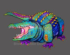 Laughing Alligator Giclee Print by BrookeConnorDesign on Etsy