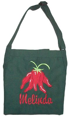 Hot Chili Pepper Embroidered Apron by InitialImpressions on Etsy, $32.00