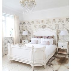 Bedroom:Pretty French Bedroom Theme Decorations Ideas Attractive French Style Bedroom Decoration Ideas Presenting White Bedding Sets Also Floral Pattern Wallpaper Over Small Crystal Chandelier Plus Animal Leather Rug On White Wooden Floor