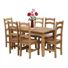 Premium Corona Mexican Pine | Dining Table And 6 Chairs | Dining Table Chairs