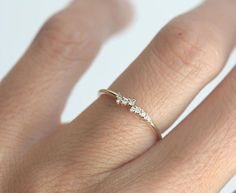 Tiny Diamond Cluster Ring Delicate Diamond Ring Delicate