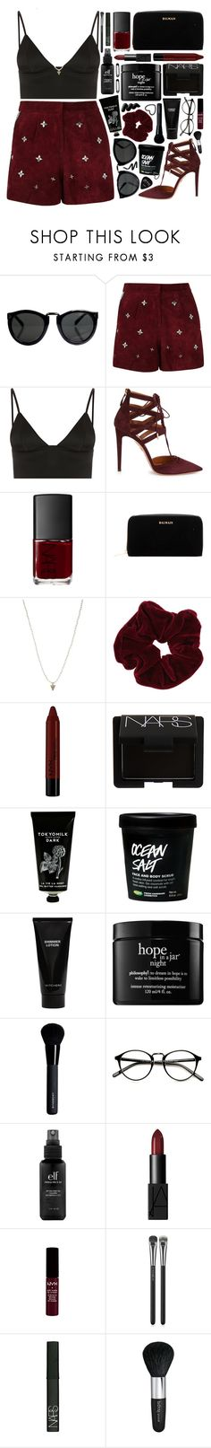 """""""Outfit 216"""" by holass ❤ liked on Polyvore featuring T By Alexander Wang, Aquazzura, NARS Cosmetics, Balmain, ASOS, Miss Selfridge, NYX, TokyoMilk, Witchery and philosophy"""
