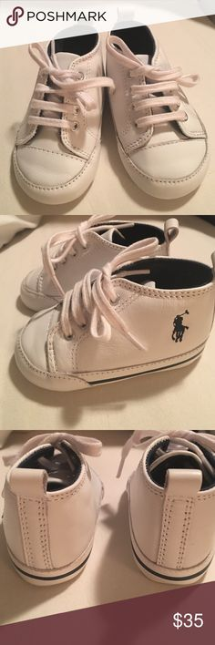 Polo by Ralph Lauren infant baby booties🍼 Brand new, in excellent condition.  My son never wore these.  There is no box but these are new.  Leather upper and sole.  So cute for baby pictures! Polo by Ralph Lauren Shoes Baby & Walker