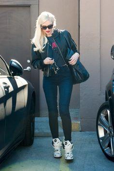 Gwen Stefani wearing  Reebok x Melody Ehsani Polka-Dot Blacktop Pump Sneakers, Kei Ninomiya  Satin Braided Collar Bomber Jacket, Chanel Coco Cocoon Large Shopping Bag