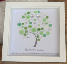 Family Tree Button Picture & Print & Branches on a Tree& LOVE Never Ends - Personalised New Baby Family Christmas Gift Family Tree For Kids, Trees For Kids, Family Tree With Pictures, Baby Family, Toddler Christmas Gifts, Christmas Crafts For Gifts, Diy Christmas, Button Art, Button Crafts