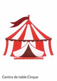 Centre de table cirque pour une décoration de baptême ou anniversaire sur le thème du cirque. Decoration Cirque, Silhouette, Wooden Centerpieces, Center Table, Big Top, Birthday Display